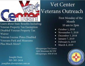 Albuquerque Vet Center Veterans Outreach @ Albuquerque Vet Center | Albuquerque | New Mexico | United States