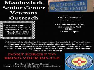 Meadowlark Senior Center Veterans Outreach @ Meadowlark Senior Center | Rio Rancho | New Mexico | United States