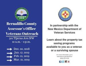 Bernalillo County Assessors Office Veterans Outreach @ Bernalillo County Assessor's Office | Albuquerque | New Mexico | United States