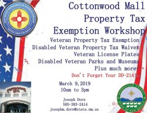 Cottonwood Mall Veterans Property Tax Exemption Workshop @ Cottonwood Mall | Albuquerque | New Mexico | United States