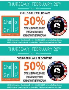 Chello Grill 50% donation to Women Student Veterans of UNM @ Chello Grill | Albuquerque | New Mexico | United States