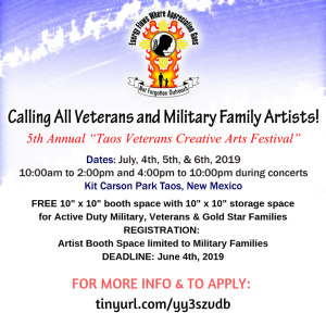 Calling All Veterans and Military Family Artists @ Kit Carson Park, Taos, New Mexico