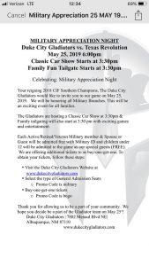Duke City Gladiators Military Appreciation Night @ Tingley Coliseum | Albuquerque | New Mexico | United States