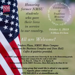 NMSU Alumni Association of Traditions Memorial Ceremony @ NMSU Traders Plaza