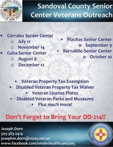 Bernalillo Senior Center Veterans Outreach @ Bernalillo Senior Center