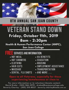 8th Annual San Juan County Veterans Stand Down @ HHPC San Juan College