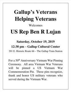Gallup's Veterans Helping Veterans-50th Vietnam War Pinning @ Gallup Cultural Center